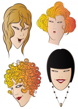 Vector stock illustration. The charming faces of the girls
