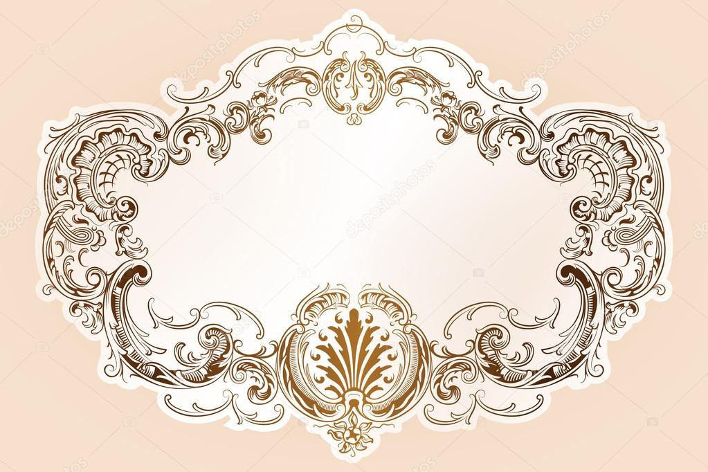 marco de vector de lujo con borde en estilo rococó — Vector de stock ...