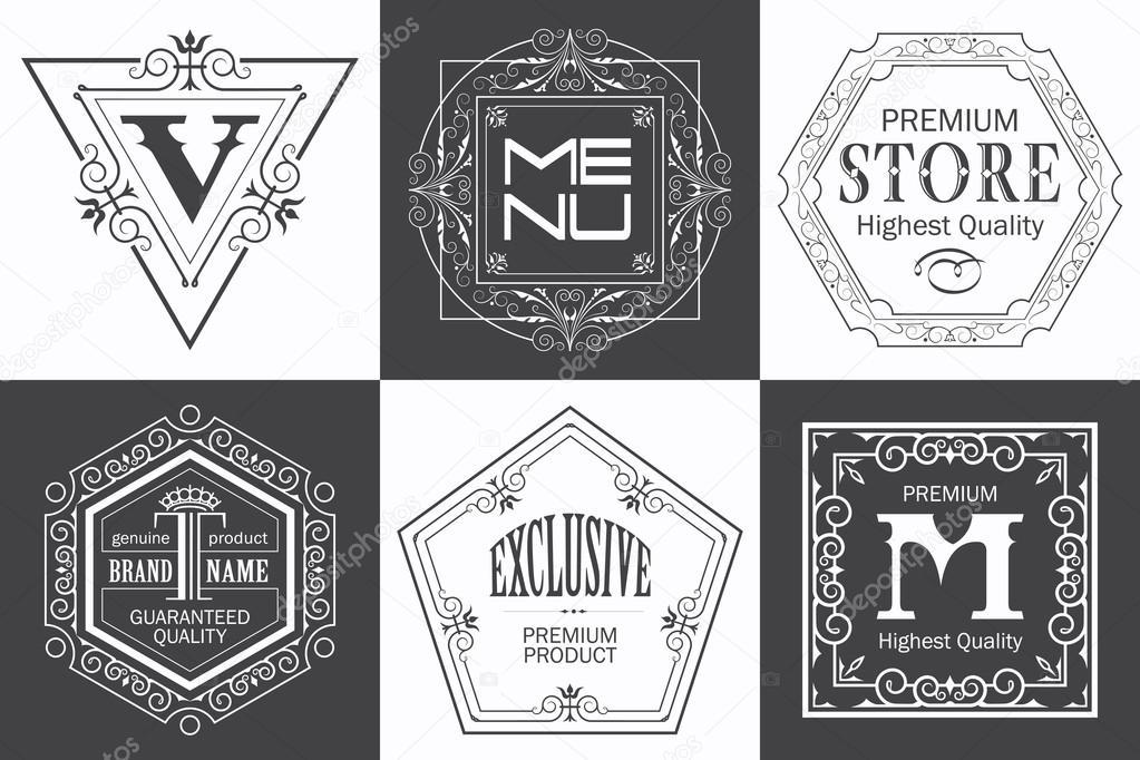 Monogramm-Logo-Vorlage mit filigran kalligraphische elegante orna ...