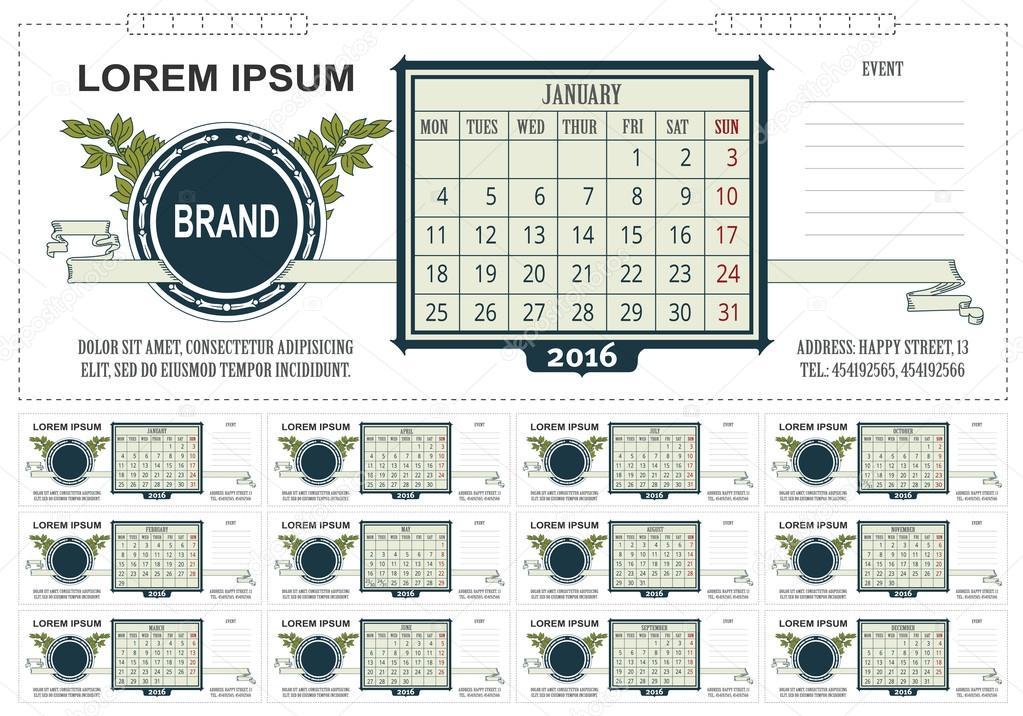 Vorlage Geschäft-Tischkalender mit Platz für Notizen. 2016. Woche ...