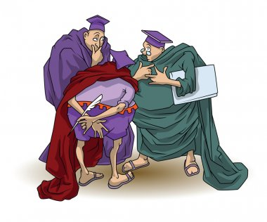 Funny stock illustration. Wise men argue and discuss