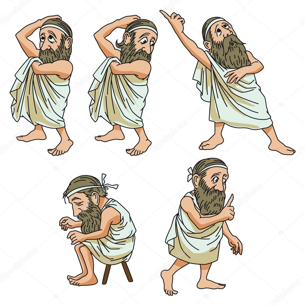 Funny stock illustration. A wise man in different poses