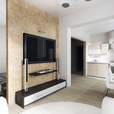 Modern interior of living room (3d rendering) stock vector