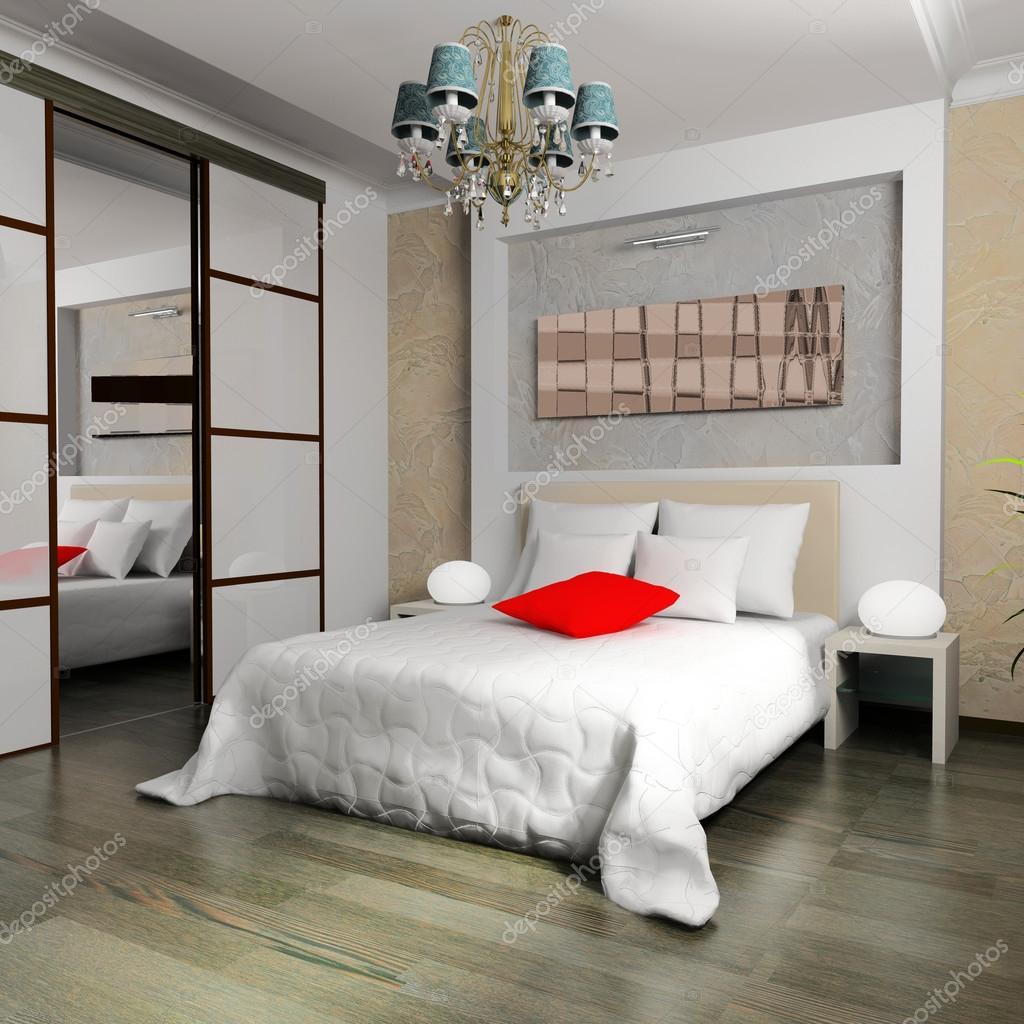 Chambre à coucher dans un style contemporain — Photographie kash76 ...