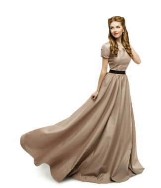 Woman Brown Dress, Fashion Model in Long Gown Turning, White