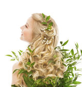 Péče o vlasy, ženy dlouhé vlasy a ekologické listy, Model zadní pohled bílá