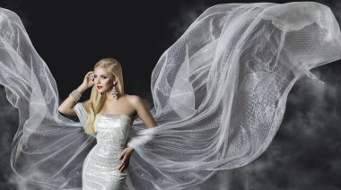 Fashion Model Dress, Woman Flowing Cloth Wings, Beautiful Girl