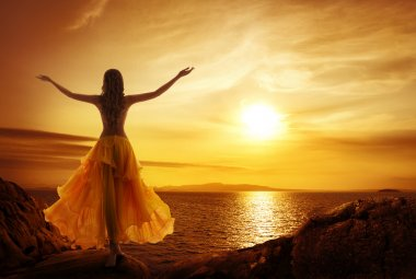 Calm Woman Meditating on Sunset, Relax Open Arms Pose