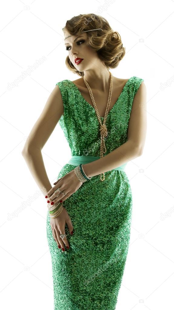 3d6d3af069 Nő-retro-divat szikrázó sequin ruha, elegáns vintage stílusú lány az estélyi  ruha