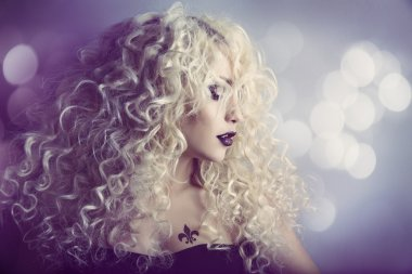 Woman Fashion Beauty Portrait, Model Girl Hairstyle with Blond Curly Hair, Beautiful Makeup, Long Curls and Tattoo