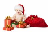 Fényképek Karácsonyi baba gyerekek, jelen díszdobozban és Santa Bag, boldog gyermek mosolyogva a Red Hat a Xmas zsáknyi, elszigetelt fehér háttér