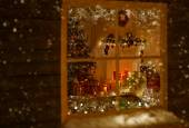 Fotografie Christmas Window Holiday Home Lights, Room Decorated By Xmas Tree Candles Presents Gift, New Year Night, Snow And Frost