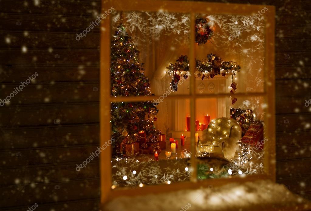 luces de navidad ventana casas decoradas por navidad rbol regalo regalos velas nueva heladas