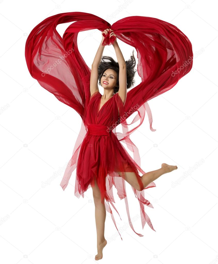 Woman Dancing With Heart Shaped Fabric Cloth, Beautiful Girl in Red Dress Waving On Wind. Isolated Over White Background