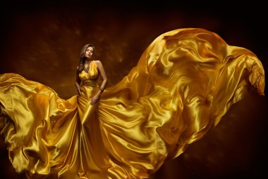 Fashion Model Woman Dress, Lady In Fluttering Silk Beauty Gown, Fabric Waving Wind, Beautiful Girl With Long Dynamic Flying Cloth