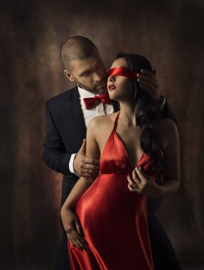 Couple in Love, Sexy Fashion Woman and Man, Girl with Red Band on Eyes Charming Boyfriend in Suit, Glamor Model Portrait, Valentine Day Lovers Sensual stock vector