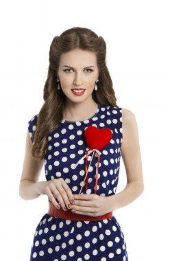 Woman in Polka Dot Dress with Heart, Retro Girl Pin Up Hair Style, Beauty Make Up and Hairstyle, Isolated Over White Background