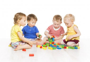 Children Group Playing Toy Blocks. Little Kids Early Development. Baby Activity One Year Old Games, Isolated Over White Background