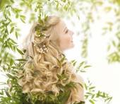 Hair in Green Leaves, Woman with Long Curly Blond Hairs, Natural Treatment Care