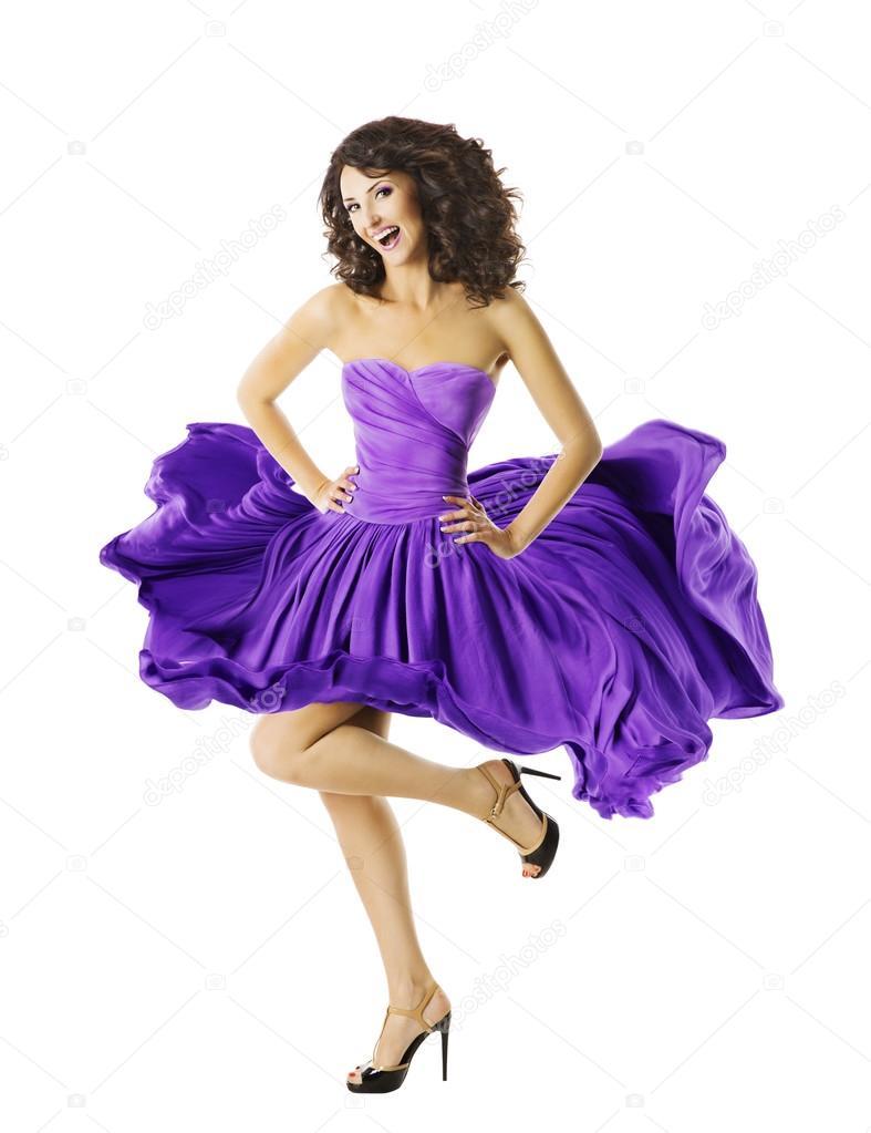 Mujer bailando en vestido ondulante, joven bailarina chica, falda ...