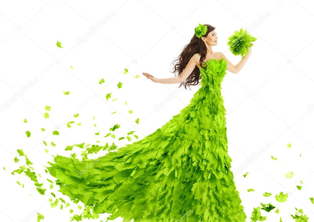 Woman Green Leaves Dress, Fantasy Creative Beauty Floral Gown, Spring Fashion