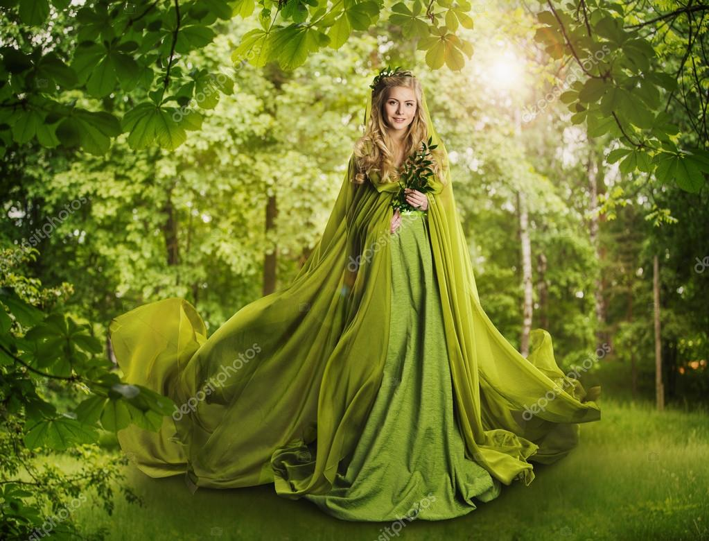Fantasy Fairy Tale Forest, Fairytale Nature, Nymph Woman Green Dress