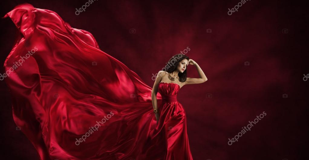 Red Dress, Woman in Flying Fashion Silk Fabric Clothes, Model Posing Waving Cloth