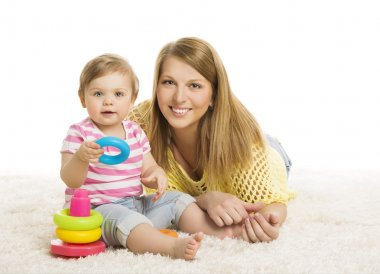 Baby Mother, Kid Playing Blocks Toy, Young Family and Little Child