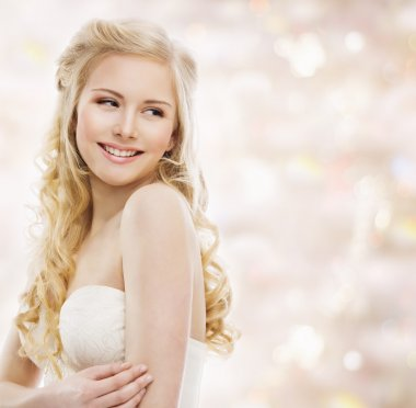 Woman Blond Long Hair, Fashion Model Portrait, Smiling Young Girl