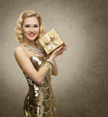 Rich Woman Gift Box, Luxury Retro Girl Gold Dres, Present for VIP Lady