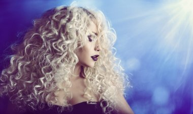 Curly Hair, Woman Beauty Face Portrait, Fashion Model Girl, Blond Hairstyle Make Up