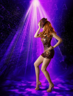Nightclub Dancing Girl, Woman Artist in Night Club, Dancer in Hat, Laser Lighting Illumination