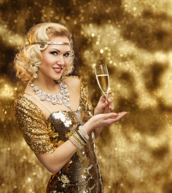 Rich Woman Champagne, Retro Lady Celebrating in Gold Dress, VIP Girl Golden Gown