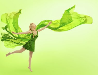 Woman Green Dress, Blowing Cloth on Wind, Silk Fabric Fly on Green