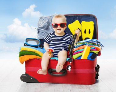 Baby Travel Suitcase. Kid inside Luggage Packed for Vacation, Child Family Trip
