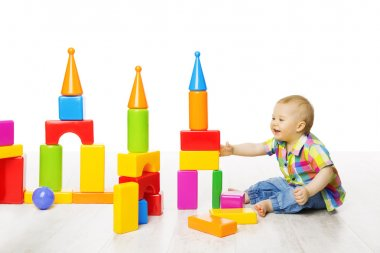 Baby Kid Play Block Toys Building, Child Boy Playing Bricks Game in Children Room