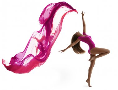 Woman Dancing Sport , Sexy Girl Dancer, Flying Cloth Fabric, Flexible Gymnast on White