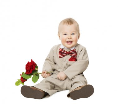 Baby Boy Flower, Kid Well Dressed Suit, One Year Child on White