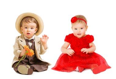 Babies Kids, Boy Suit Hat Girl Dress, Children Fashion, White