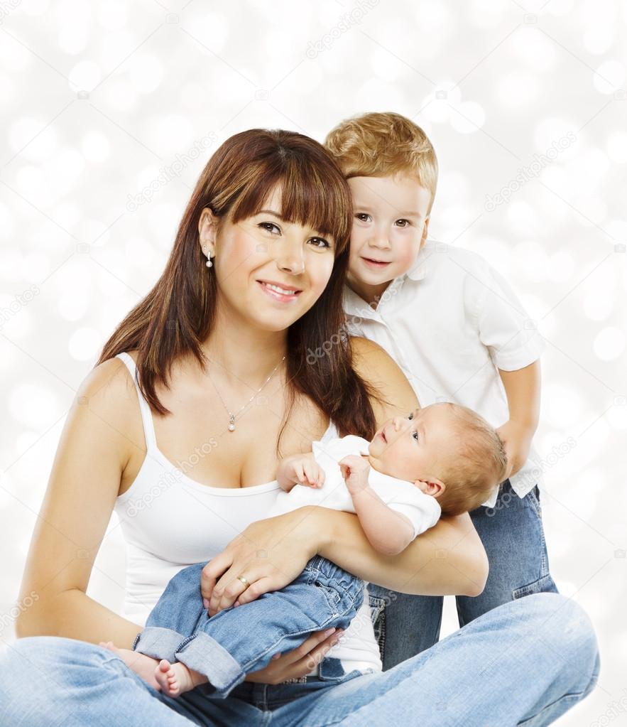 Family Portrait Mutter und Baby-Kinder, Mama mit zwei