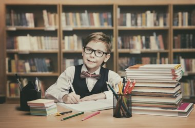 School Kid Education, Student Child Write Book, Little Boy Glasses