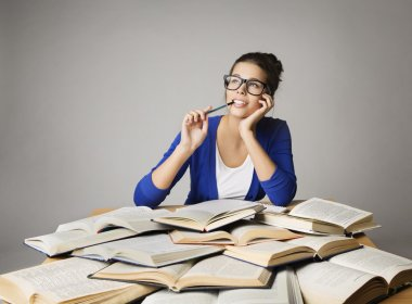 Student Thinking Open Books, Pondering Girl in Glasses, Studying Woman, Gray