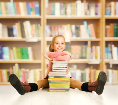 School Kid Education, Child Books, Little Girl Student, Book Stack