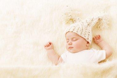 Baby Sleeping, Newborn Kid Portrait Asleep in Hat, New Born Sleep