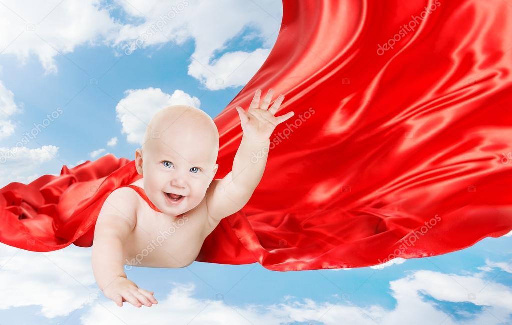 Baby superhero kid super hero with red superman cape child boy baby superhero kid super hero with red superman cape child boy flying in blue sky photo by inarik publicscrutiny Gallery