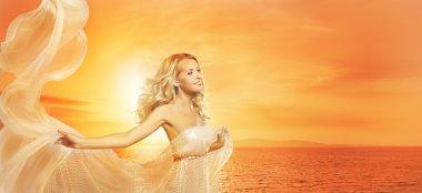 Woman Beauty Portrait in Sun Lights, Fashion Model Girl