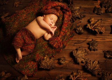 Baby Sleeping Autumn Background, New Born Kid Asleep in Leave, Newborn