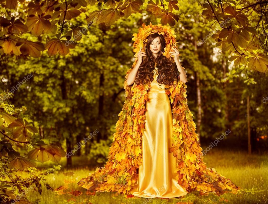 Платье с листьями желтые