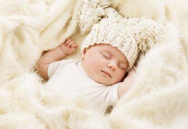 Baby Sleeping in Bed, Newborn Kid Sleep in Hat, New Born Girl