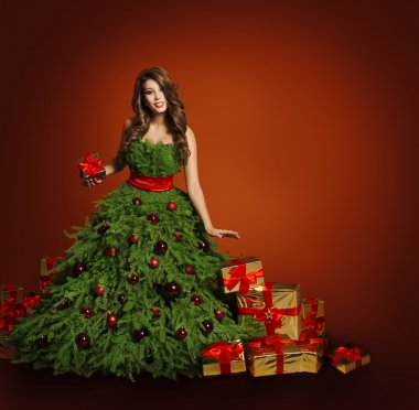 Christmas Tree Fashion Woman Dress, Model Girl  Presents Gifts
